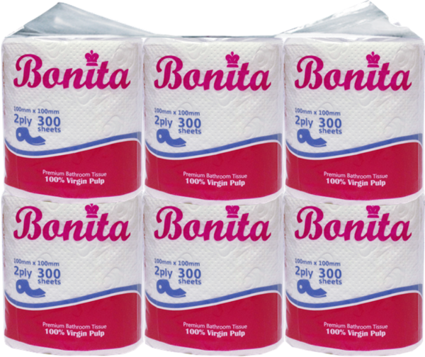 Bonita Bathroom Tissue Roll 2-Ply 300 Sheets Singles
