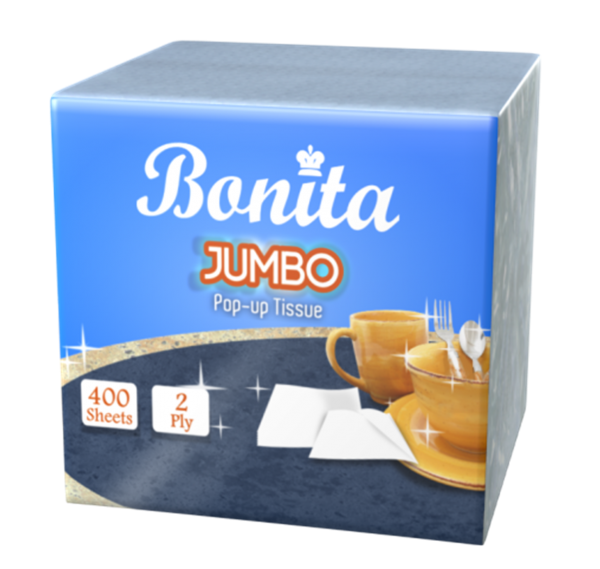 Bonita Jumbo Pop-Up Tissue 2-Ply 400 Sheets