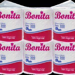 Bonita Bathroom Tissue Roll 2-Ply 300 Sheets Singles