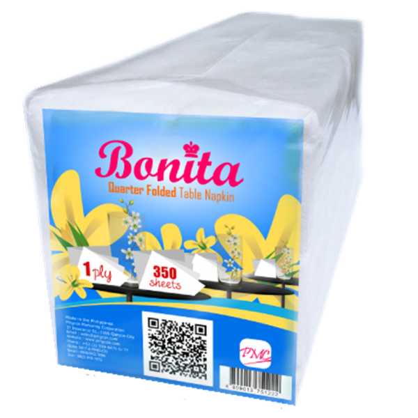 Bonita Quarter Folded Table Napkin 1-Ply 350 Sheets